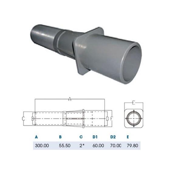 Průchod stěnou ABS 50 mm x (vnější rozměr) 2 / 300 mm
