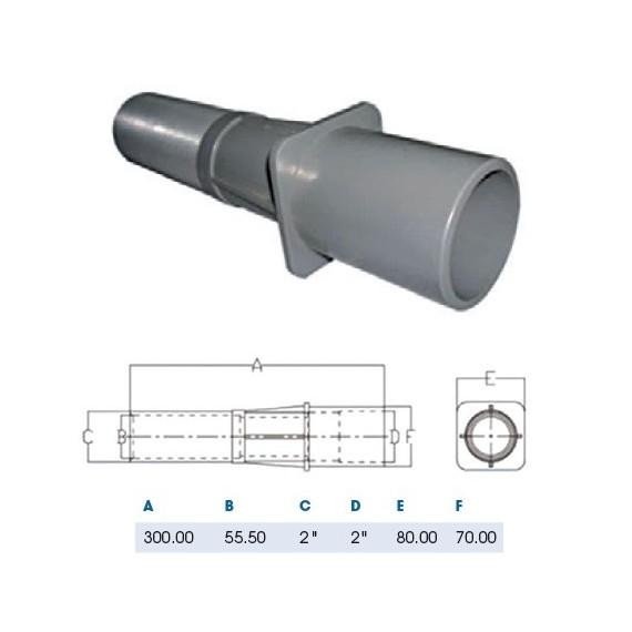 Průchod stěnou ABS 50 mm x 2 se závitem / 300 mm