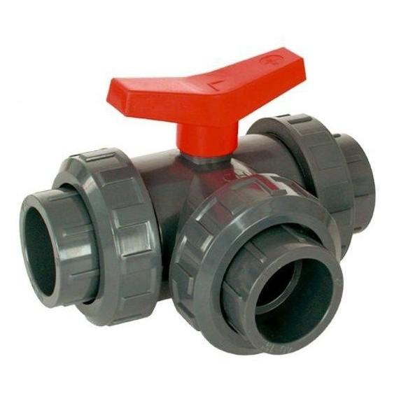 PVC Kulový třícestný ventil 40 mm T