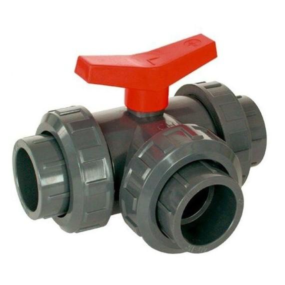 PVC Kulový třícestný ventil 40 mm L