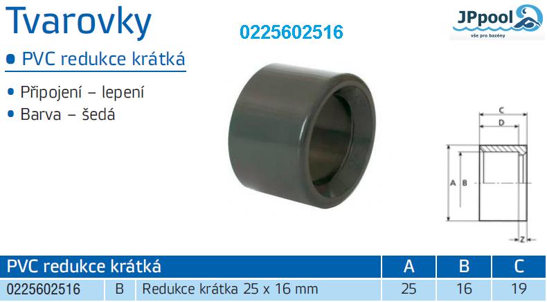 Redukce krátká 25 x 16 mm 0225602516