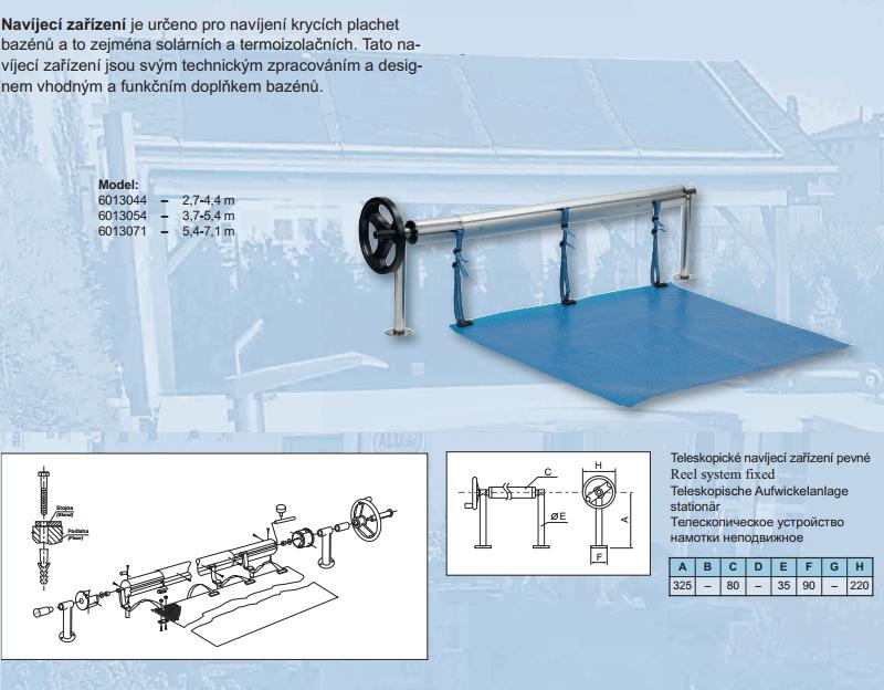 Pevné navíjecí zařízení s teleskopickou tyčí 3,7 - 5,4m