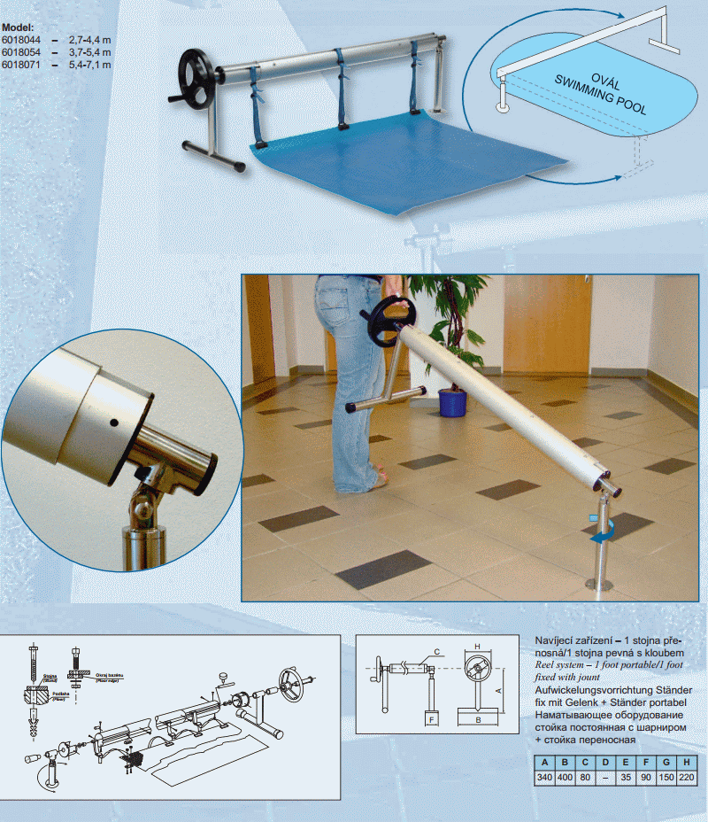 Otočné navíjecí zařízení s teleskopickou tyčí: 2,7 - 4,4 m